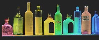 "44"" Multi-Color Led Liquor Bottle Display,glass Display Bar Shelf Black W Remote"