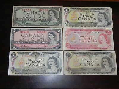 Canada $8 – two $2, Four $1 Banknotes 1954-74 Circulated JCcug 190057