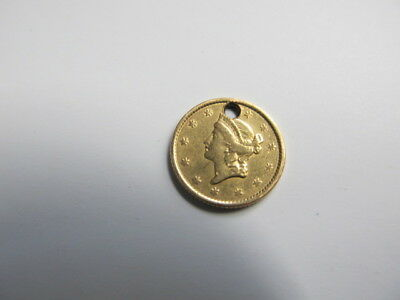 1852 1 Dollar  US gold  Coin hole punched