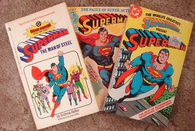 SUPERMAN--Three Paperbacks, comics, novel