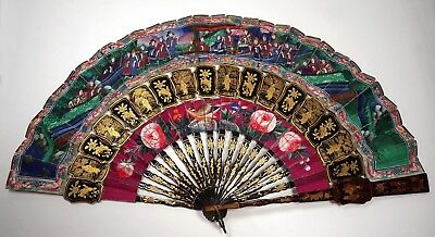 Antique 19th C. Chinese 100 FACES Paper Gold Lacquer CABRIOLET FAN with Tassel