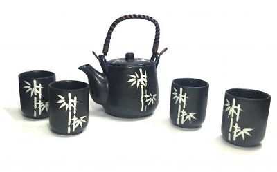 Japanese Design White Bamboo Black Tea Pot and Cups Set Japan Home Decor