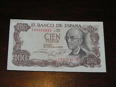 Spain 100 Pesetas Banknote 1970 P-152 Circulated JCcug 190091