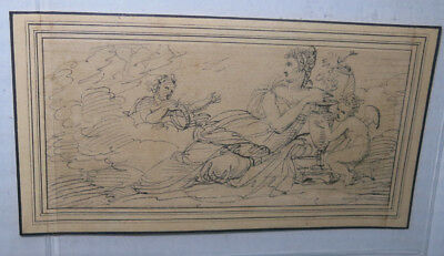 Lot of 3 c 1800 Drawings of Angels in Heaven Beautiful Unique Look!