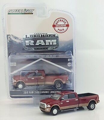1:64 GreenLight *RED & BROWN* 2018 RAM 3500 Laramie DUALLY Pickup Truck *NIP*