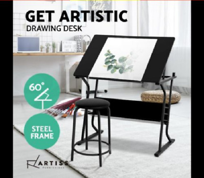 Drafting Table Tilt Drawing Desk Stool Adjustable Craft Art Drawers Black Metal