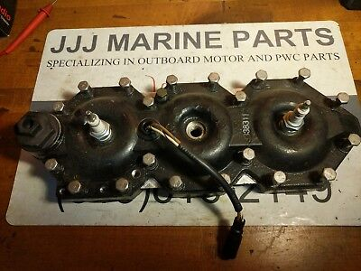 96 Johnson Evinrude 150 HP V6 Port Cylinder Head 338311 93-06 temp sensor omc