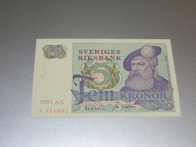 Sweden 5 Kronor Banknote 1981 P-51d Circulated JCcug 181379