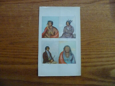 1841 Lithograph American Indians-Lake Huron & Michigan-George Catlin-Colored