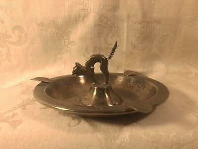 Antique Silverplated Fright Cat Ashtray
