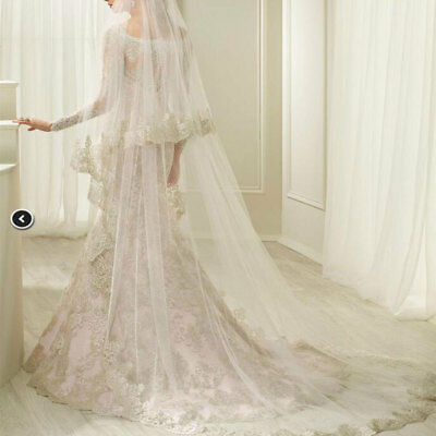 Ivory Wedding Cathedral Length 2T With Comb Bridal White Veils Lace Applique