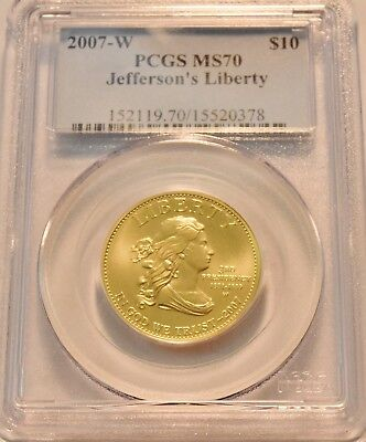 2007 W $10 PCGS MS 70 Gold Jefferson's Liberty First Spouse 1/2 oz. Uncirculated