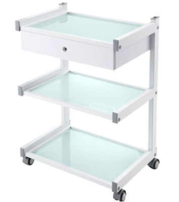 3 Tier Glass Trolley with 1 Drawer Medical Trolley Cosmetic Beauty Bedside
