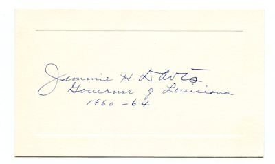 "JAMES H DAVIS, Louisiana Governor/Singer ""You Are My Sunshine"" Autograph (7772)"