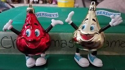 2002 Red and Gold Hershey's Kiss Christmas Tree Ornaments
