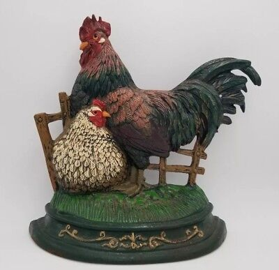 "Vintage Cast Iron ROOSTER CHICKEN HEN DOORSTOP 13""x12"" Home Or Lawn Decor 5.5lbs"