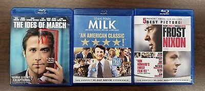 Lot of 3 Blu-ray Polictical Movies THE IDES OF MARCH, MILK, FROST NIXON