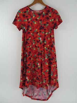 LuLaRoe Womens Red & Green Floral Carly Dress Size XS Christmas Fit & Flare Cute