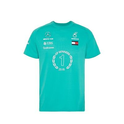 2018 Mercedes AMG F1 Team Lewis Hamilton WINNER T Shirt Tee Green Mens *SALE*