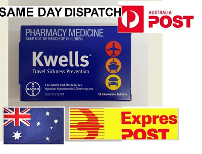 120 Tablets KWELLS Travel Sickness Prevention BULK (10 x 12) Tablet Packet