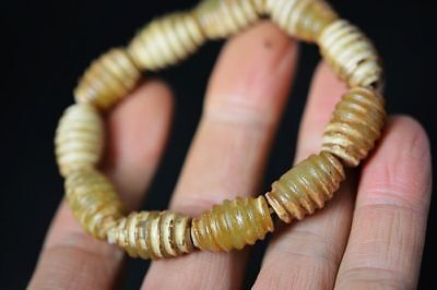 Exquisite Chinese natural old jade 18*11MM Beads Prayer Bracelet Hand string G73