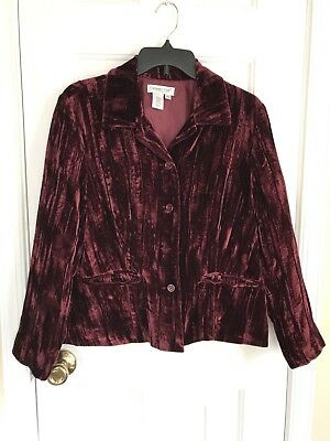 Womens Coldwater Creek Burgundy Wine Crushed Velvet Jacket Size PM