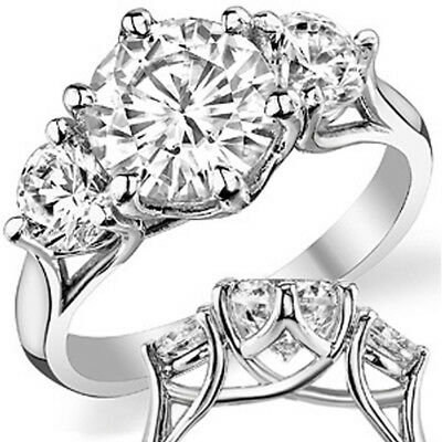 2 Ct Forever One Round Cut Moissanite Ring 14K White Gold Charls and Colvard