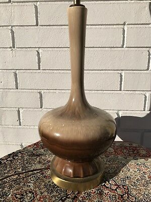 Mid century Modern Drip Glaze Pottery Genie Style Table Lamp