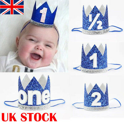 UK First Birthday Party Hat Decor Hair Accessory Baby Girl Princess Crown Blue