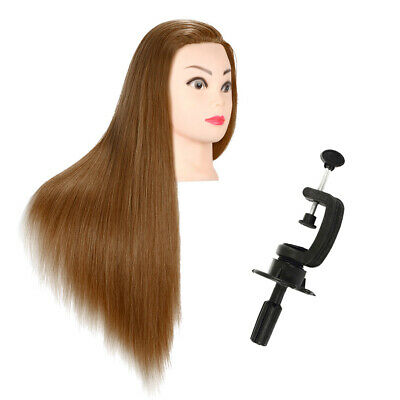"26"" 100% Real Human Hair Mannequin Head Salon Hairdressing Training Doll + Clamp"