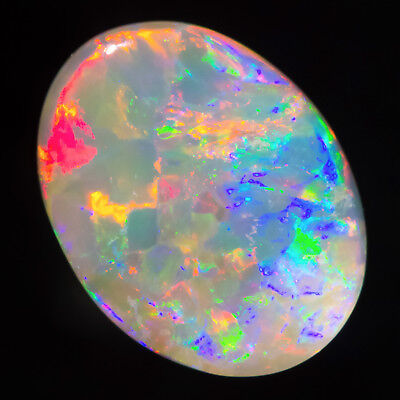 TOP SHELF RED-MULTICOLOUR 1.29ct 9x7mm SOLID SEMI BLACK OPAL LIGHTNING RIDGE