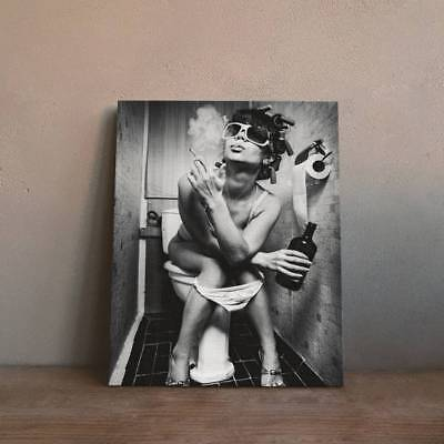 Unframed Smoking Lady Art Oil Painting Print Canvas Picture Wall Bathroom Decor
