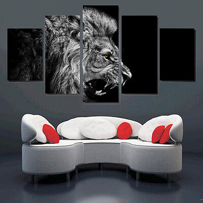 5PCS Large Lion Art Oil Painting Unframed Canvas Print Wall Picture Home Decor