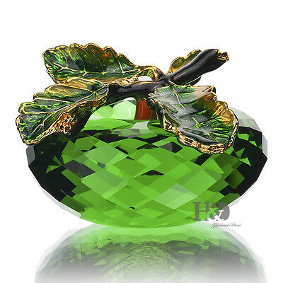 """Crystal Faceted Green Apple Paperweight Figurine Glass Valentine Gift 2.3"""" & Box"""