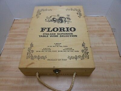 Florio Wooden Wine Box with Flip Up Lid  Two Bottle Box