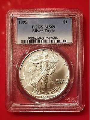 1995 PCGS MS69 American Silver Eagle $1 Dollar Coin - Blue Label Verified