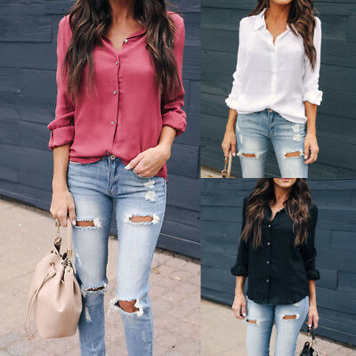 US Fashion Women Lady V-Neck Long Sleeve T-Shirt Casual Button Soild Blouse Tops