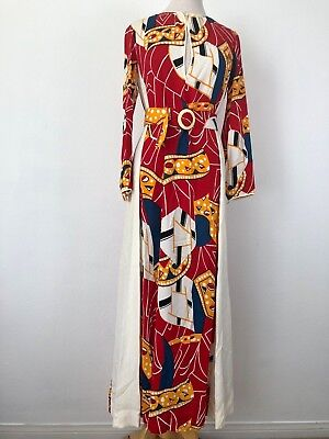 Vintage 60s 70s Long Maxi Dress Red Yellow White Womens Belted Hippie Colorful