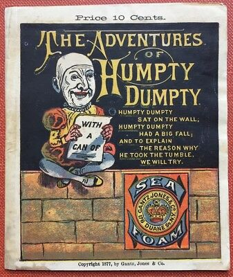 Jones Gantz / Adventures of Humpty Dumpty Advertising pamphlet for Gantz 1877