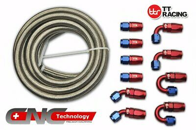 6 AN-6 Stainless Steel Braided Fuel/Oil/Gas Line Hose 20FT 6M Fitting End Kit