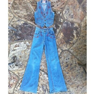 916cced10bc vintage 70s Faded Glory two piece set denim vest   high waisted bellbottoms