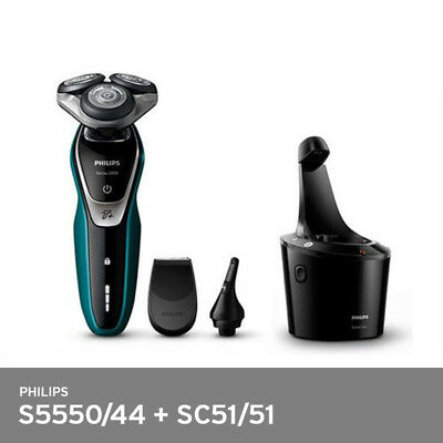 Philips S5550/44 Shaver + SmartClean SC51/51Wet Dry Trimmer 3Head 100-240V FedEx