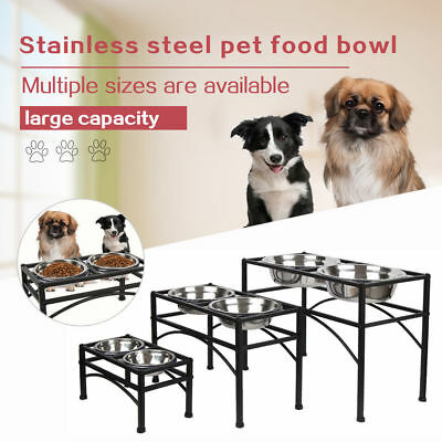 Double Elevated Raised Dog Pet Feeder Bowl Stainless Steel Food Water Stand Tray