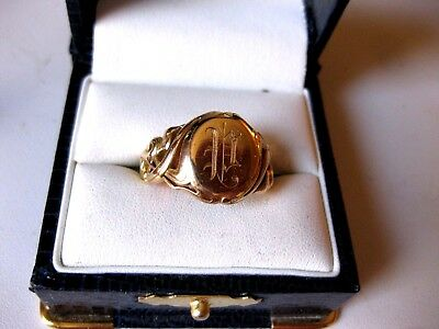 "ANTIQUE ESTATE 14K YELLOW GOLD ""UNISEX"" SIGNET-RING with MONOGRAM,ART NOUVEAU"