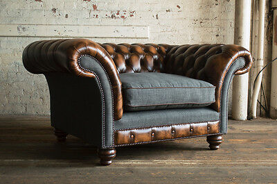 Vintage Antique Tan Leather & Grey Wool Chesterfield Snuggle Chair, Love Seat