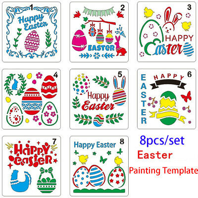 8pcs/set Easter Layering Stencils For Walls Painting Embossing Template