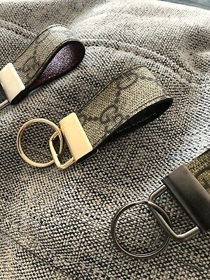 Handmade Pink Key Fob From 100% Authentic Gucci Bag. Genuine Leather Gold Ring