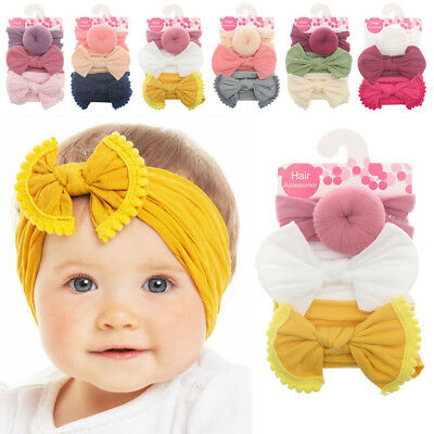 3Pcs Infant Baby Girl Bow Stretch Headbands Toddler Turban Knot Hair Band Gifts