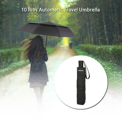 TOMSHOO Unisex Auto Open/Close Umbrella Vented Double Canopy Windproof C6R1