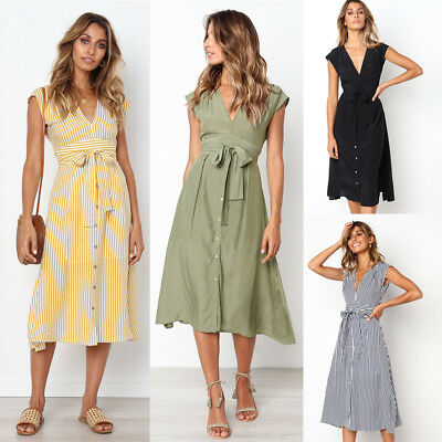 Ladies Sexy V-Neck Sleeveless Striped Solid Button Belt Summer Casual Dress S-XL